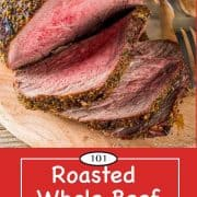 Graphic for Pinterest of Roasted Beef Tenderloin