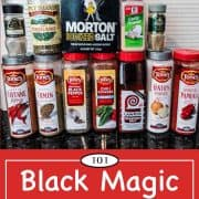 graphic for pinterest of black magic seasoning