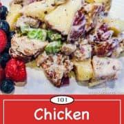 Graphic for Pinterest of Chicken Waldorf Salad