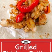 Graphic for Pinterest for Grilled Chicken Fajitas
