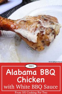 graphic for pinterest of chicken with white BBQ sauce
