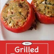 graphic for Pinterest for Grilled Tomatoes