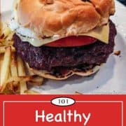 graphic for Pinterest for low fat burgers