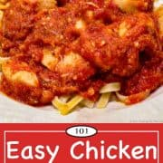 Graphic for Pinterest of Easy Chicken Spaghetti