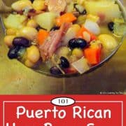 graphic for Pinterest of Puerto Rican Ham Bone Soup