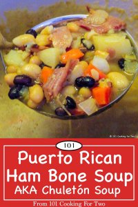 graphic for Pinterest of Puerto Rican Ham Bone Soup