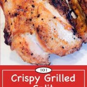 graphic for Pinterest of grill split chicken breasts