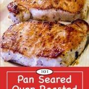 graphic for Pinterest of baked pork chops