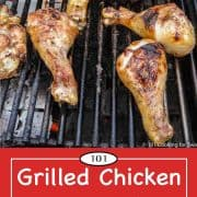 graphic for Pinterest of grilled drumsticks