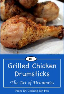 Pinterest graphic of grilled drumsticks