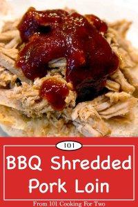 graphic for Pinterest of BBQ Shredded Pork Loin