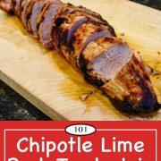 Pinterest graphic for Chipltle Lime Pork Tenderloin