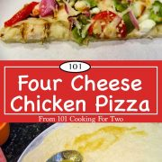 Graphic for Pinterest of four cheese chicken pizza