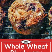 Graphic for Pinterest of whole wheat blueberry muffins