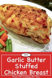 graphic for Pinterest of Garlic Butter Stuffed Chicken Breast