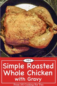 graphic for Pinterest of roasted whole chicken