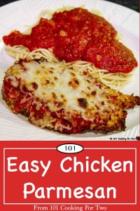 Graphic for Pinterest of Chicken Parmesan
