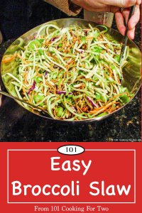 Graphic for Pinterest of Broccoli Slaw