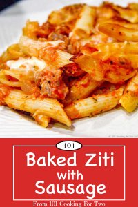 Graphic for Pinterest of Baked Ziti with Sausage