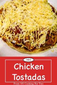 graphic for pinterest of chicken tostadas