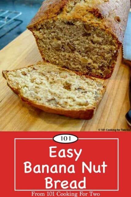 Image for Pinterest of banana nut bread