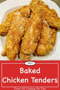 Graphic for Pinterest of baked chicken tenders