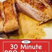 Graphic for Pinterest for BBQ boneless pork ribs