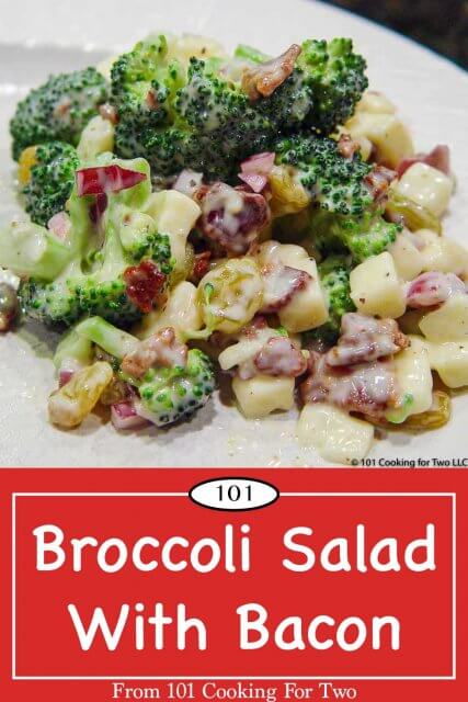 Graphic for Pinterest of Broccoli Salad