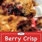 Graphic for Pinterest of berry crisp