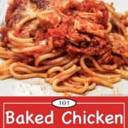 graphic for Pinterest of Baked Chicken Spaghetti