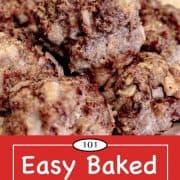 graphic for Pinterest for baked meatballs