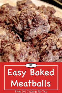 graphic for Pinterest for baked meatballs