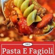 Graphic for Pinterest of Pasta E Fagioli Soup