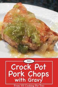 Graphic for Pinterest for Crock Pot Pork Chops