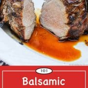 Graphic for Pinterest for grilled balsamic pork tenderloin