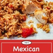 Graphic for Pinterest for Mexican chicken and rice