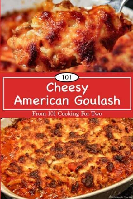 Image for Pinterest of Cheesy American Goulash