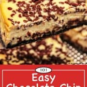 image for Pinterest of chocolate chip cheese cake