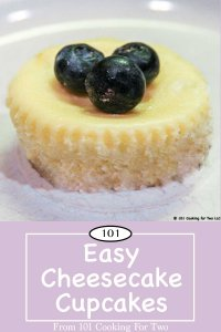 Graphic for Pinterest of Easy Cheesecake Cupcakes