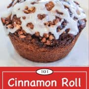 Graphic for Pinterest of Cinnamon Roll Muffin