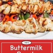 Graphic for Pinterest of Buttermilk Ranch Chicken Kabobs