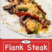 graphic for Pinterest for flank steak fajitas