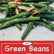 Graphic for Pinterest of stovetop green beans
