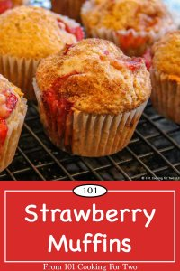 Graphic for Pinterest of Strawberry Muffins