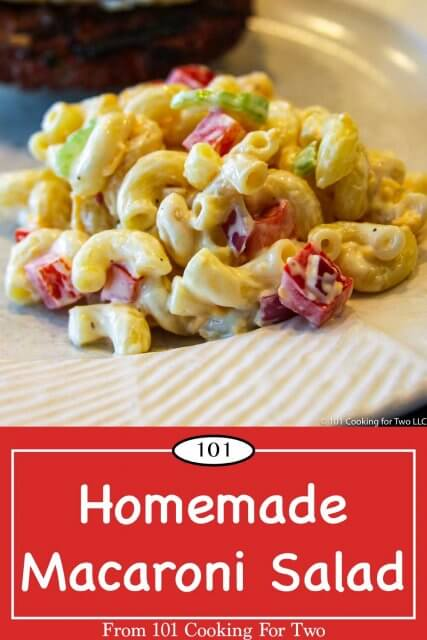 graphic for pinterest of Macaroni Salad