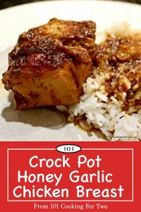 image for Pinterest of Crock Pot Honey Garlic Chicken Breasts