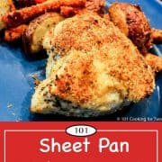 graphic for Pinterest of sheet pan chicken breast
