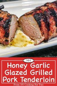Graphic for Pinterest of Honey Garlic pork tenderloin
