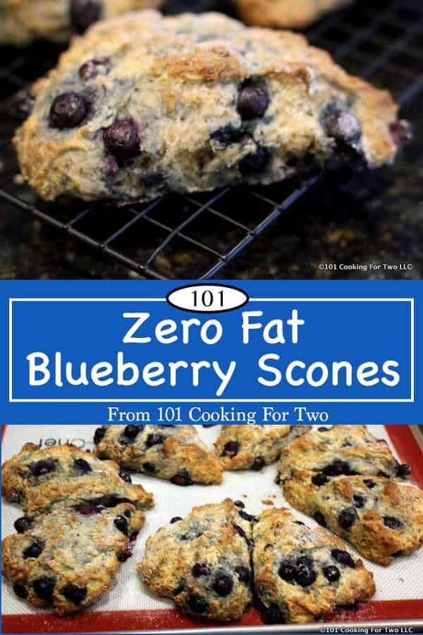 Something very special for the low fat dieters.  Coming in at about 165 calories this fruit packed super easy scone fit the bill. Yes, you can have your cake a eat it too. #BlueberryScone #ZeroFatBlueberryScone #LowFatScone