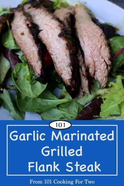 image for Pinterest of Garlic Marinated Grilled Flank Steak